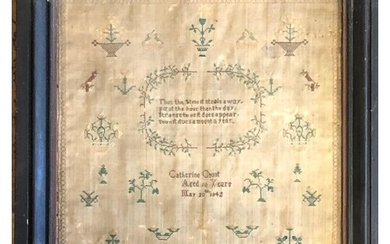TWO 19TH CENTURY NEEDLE WORK SAMPLERS, DATED 1842 AND 1861. ...