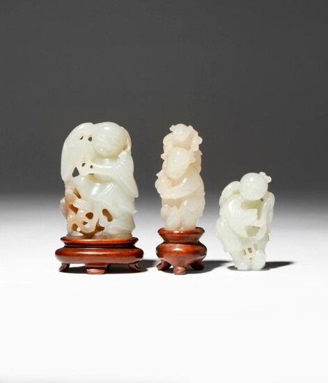 TWO CHINESE JADE CARVINGS OF LIU HAI AND A CARVING...