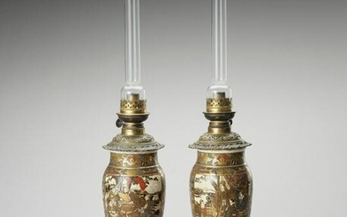 TWO KUTANI PORCELAIN VASES MOUNTED AS OIL LAMPS