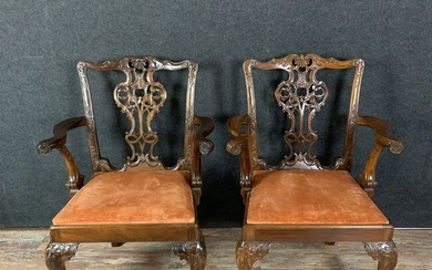 Thomas Chippendale: pair of armchairs (2) - Georgian Style - Mahogany, Velvet upholstery - Mid 19th century
