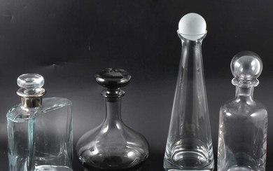 Three boxes of contemporary glassware and decanters