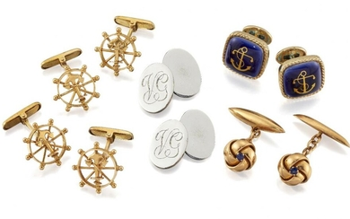Three pairs of cufflinks, comprising: two pairs...