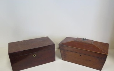 Two 19th century mahogany tea caddies in need of some restor...