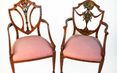 Two Adam-Style Painted Shield-Back Arm Chairs