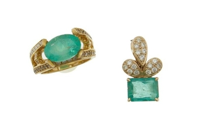 Two emerald and diamond jewelry items