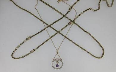 Two fancy link neckchains together with an Edwardian