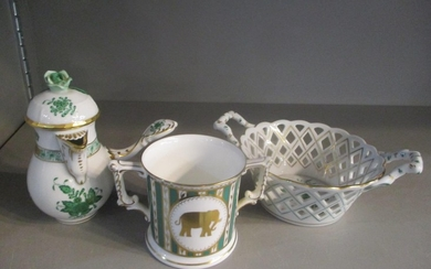 Two pieces of Herend to include a pierced basket with twin h...