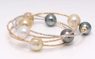United pearl - 18 kt. Tricolour Gold - 10x11mm Tahitian and South Sea Pearls - Bracelet