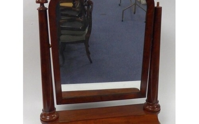 VICTORIAN FIGURED MAHOGANY LARGE TOILET MIRROR, of typical f...