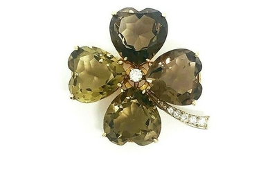 VINTAGE Yellow Gold Diamond Smoky Quartz Clover Brooch