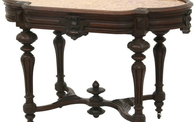 Victorian Walnut Marble Top Center Table