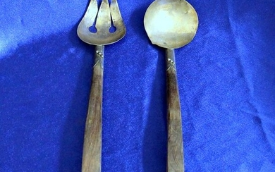 Vintage Sterling Silver and Wood Salad Serving Set
