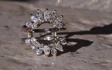 Vintage White Gold Ring Jacket Set With Diamonds