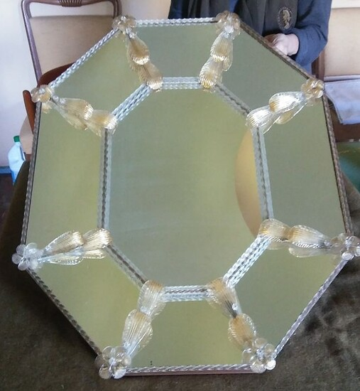 Wall mirror, Murano mirror of octagonal shape with concave pattern