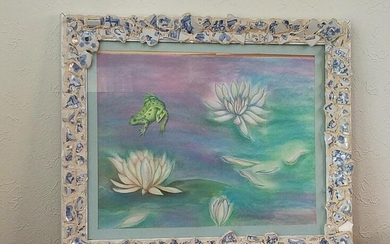 Water Lily and Frog Pastel