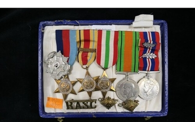 World War II medal group of five comprising Victory medal (w...
