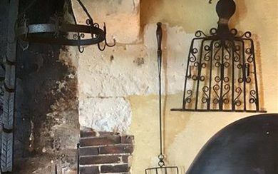 Wrought iron meat grill with seven bars drawn...
