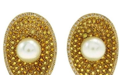 Yellow Topaz, Pearl, Diamonds Gold Earrings