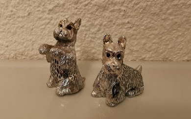 christofle - silver light couple collection of fox terrier (2) - silver plated