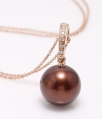 no reserve - 14 kt. Rose Gold - 11x12mm Round Chocolate Tahitian Pearl - Necklace with pendant - 0.04 ct