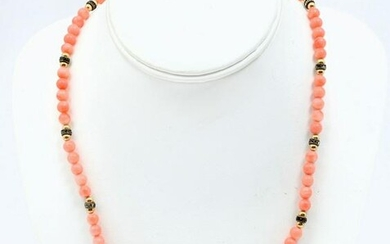 14K PINK CORAL BEADED NECKLACE