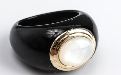 14K Yellow Gold Gypsy Onyx & Mother-of-Pearl Ring