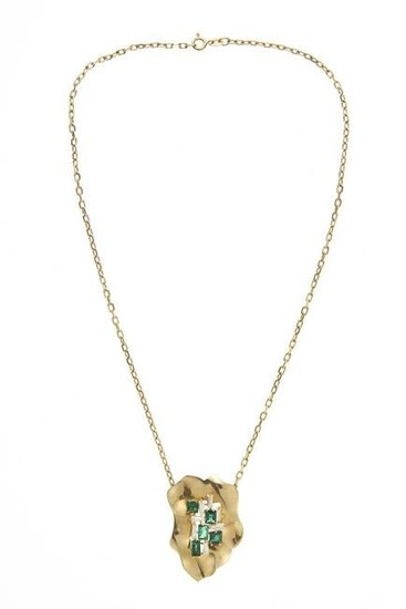 18kt yellow gold, diamond and emerald necklace