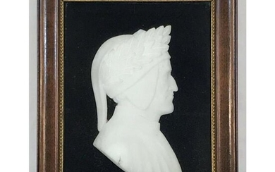 1920's Italian Alabaster Cameo Silhouette, Bust of Poet
