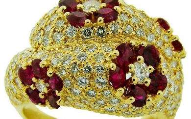 1980s GRAFF RUBY DIAMOND YELLOW GOLD COCKTAIL RING