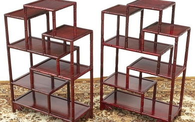(2) CHINESE ROSEWOOD MULTI-TIER DISPLAY SHELVES