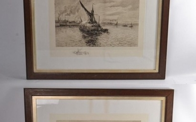 2 Etching prints of boat scenes with artist sketches added t...