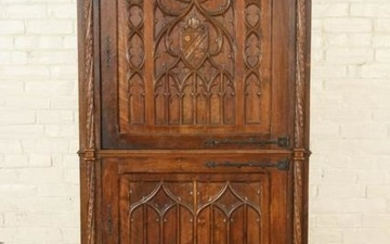 UNUSUAL 3-DOOR GOTHIC STYLE CARVED CABINET C.1900