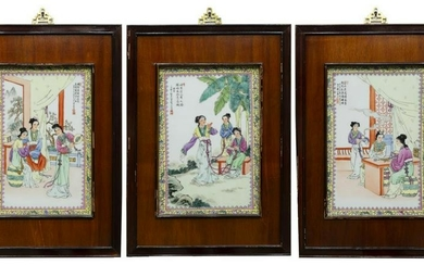 (3) FRAMED CHINESE ENAMELED PORCELAIN WALL PLAQUES