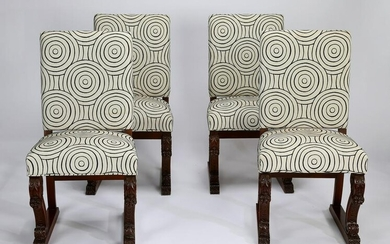 (4) Carved oak chairs with contemporary upholstery