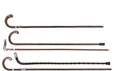 5 walking sticks: 2 bent bamboo, one with silver band, both ...