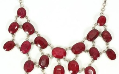 529CT RUBY AND STERLING SILVER NECKLACE