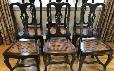 6 Antique Carved Chippendale Caned Dining Chairs