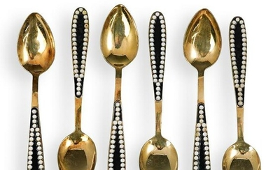 (6 Pc) Antique Russian 916 Silver Gilt Spoons