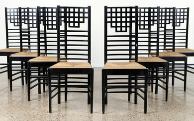8 CHARLES RENNIE MACKINTOSH STYLE DINING CHAIRS