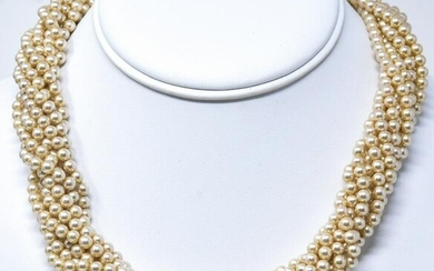 9 Strand Pearl Necklace W Jeweled Clasp