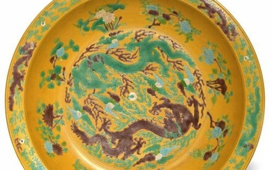 A CHINESE BROWN AND GREEN ENAMELLED CHARGER, CHINA