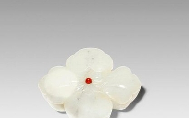 A CHINESE WHITE JADE MUGHAL-STYLE BOX AND COVER 19TH CENTURY Formed as a four-petalled flower, the box carved with four compartments, with a red bead to the cover, the pale translucent stone with some inclusions and grey specks, 7.8cm. (2) Provenance:...