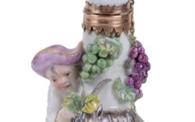 A Charles Gouyn St. James's factory type scent bottle Bacchic group of a boy and goat