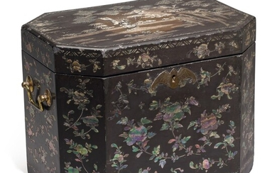 A Chinese Export mother-of-pearl inlaid black lacquer tea chest, circa 1840