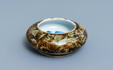 A Chinese flambe glazed brush washer with blue and white 'crabs' design, 19/20th C.