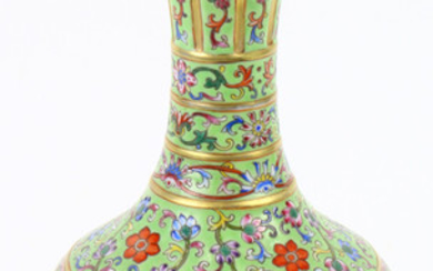 A Chinese turquoise ground garlic bottle vase