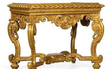 A Continental Baroque carved giltwood stand