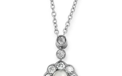 A DIAMOND AND PEARL FLOWER PENDANT AND CHAIN set with a
