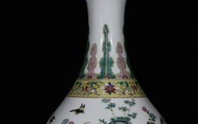 A FAMILLE ROSE GLAZE YUHUCHUNPING VASE WITH BIRD&FLOWER