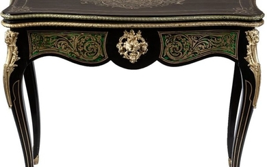 A French brass Boulle marquetry ebonised wood games...